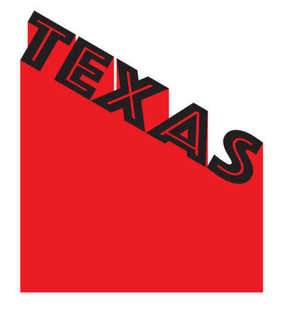Text in red and white proclaiming Texas with a shadow backdrop