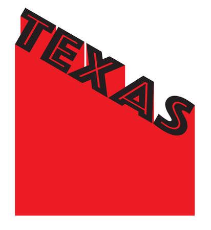 Texto en rojo y blanco proclamando Texas con un fondo de sombra