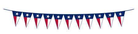 The flag of the USA state of TEXAS as a line of bunting