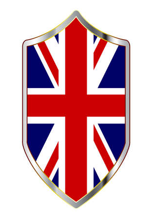A typical crusader type shield with the British Union Jack flag