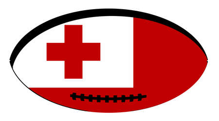 Flag of Tonga inset into a typical rugby ball oval