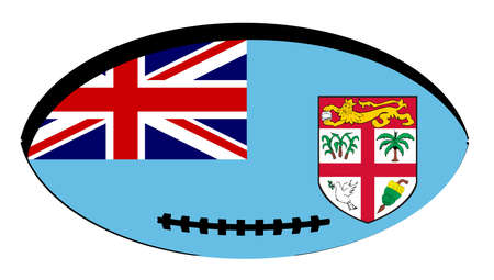 Flag of Fiji inset into a typical rugby ball oval Illustration