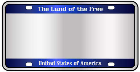 Blank United States of America land of the free license plate mockup spoof over a white background