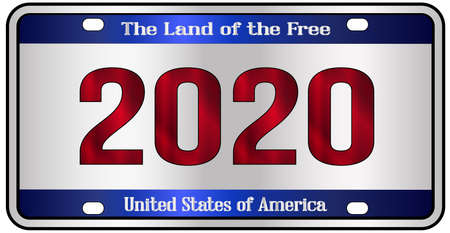 2020 New Year United States of America land of the free license plate mockup spoof over a white background