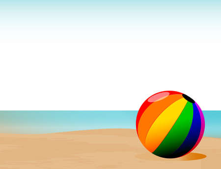 A sand and surf shoreline with a multi color beachball in the forfront Illustration