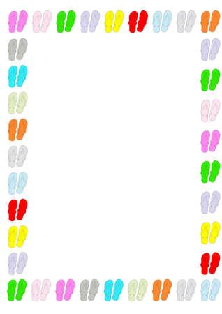 Several color flip flop shoe as a [age boeder set on a white background