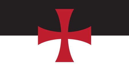 The Crusaders Knights Templar battle flag standard flag of a black and white background with the Saint Georges cross central