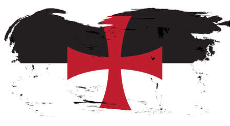 The Crusaders Knights Templar battle flag standard flag of a black and white background with the Saint Georges cross central with heavy grunge Illustration