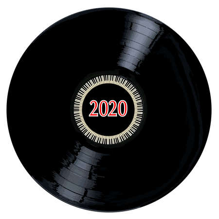 A typical LP vinyl record with the legend 2020 and a circle of piano keys all over a white background.