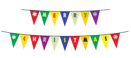 The text Merry Christmas as a line of bunting on a white background