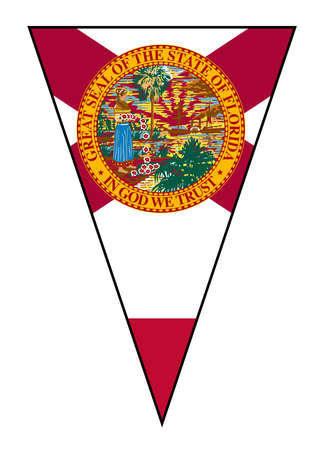 The flag of the USA state of Florida as part of a bunting