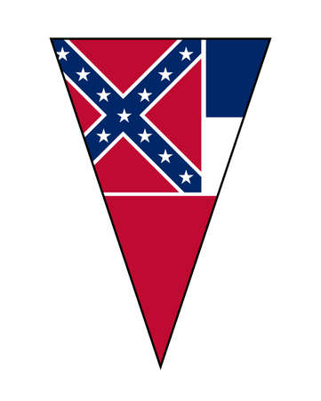 The flag of the USA state of Mississippi as part of a bunting