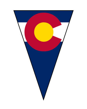 The flag of the USA state of Colorado as part of a bunting