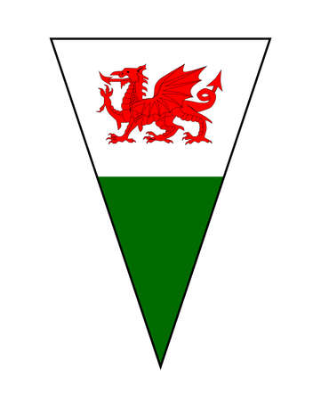 The Welsh Flag as part of a bunting
