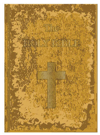 Old leather and worn front cover of The Holy Bible over a white background