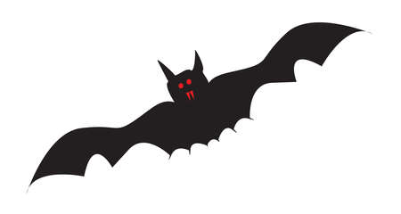 A flying vampire bat with red eyes and fangs over a white background Ilustrace