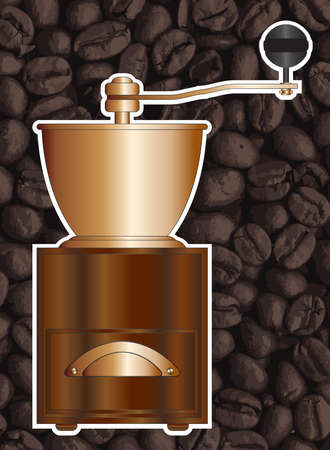 AN old wooden coffee grinder isolated on a background of coffee beans