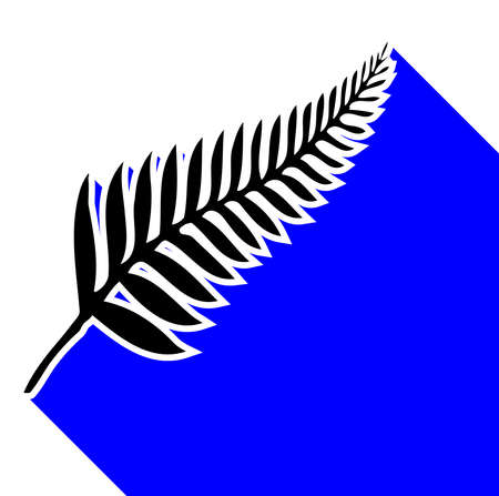 Silhouette of a silver fern, a national emblem of New Zealand over a white background with blue shadow