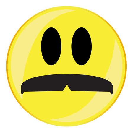 A mustache smile face button isolated on a white background Archivio Fotografico - 135500970