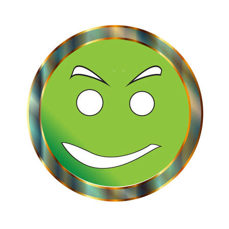A green to go positive smile emoticon almost happy face Illustration