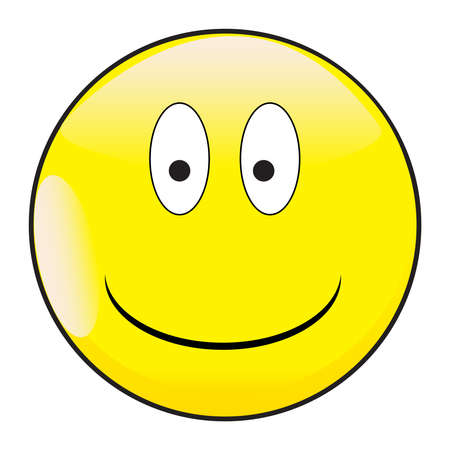 A big eyed happy smiling smile face button isolated on a white background
