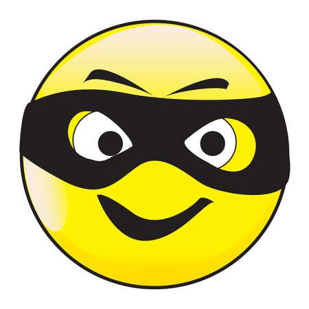Een boosaardige gemaskerde grote ogen gelukkig lachend glimlach gezicht knop geïsoleerd op een witte achtergrond