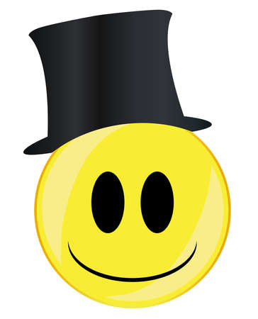 A toff in a top hat smile face button isolated on a white background Çizim