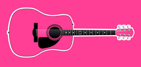 A pink acoustic guitar with white outline isolated over a pink background