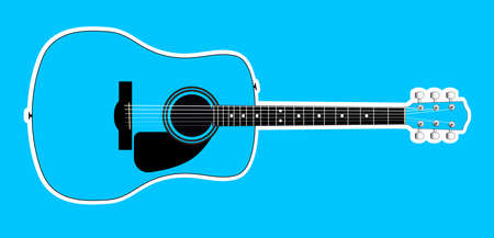 A blue acoustic guitar with white outline isolated over a blue background Foto de archivo - 136137992