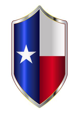 Un tipico scudo di tipo crociato con la bandiera dello stato del Texas tutto isolato su uno sfondo bianco