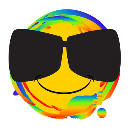 Emoji smiley face with a pair of sunglasses as a web button set on a rainbow
