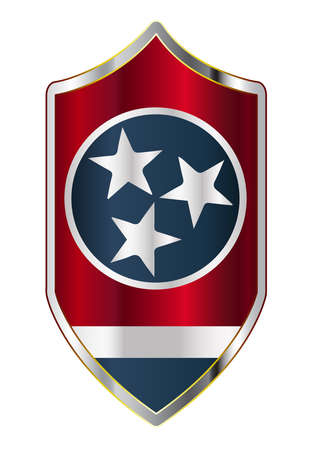 A typical crusader type shield with the state flag of Tennessee all isolated on a white background