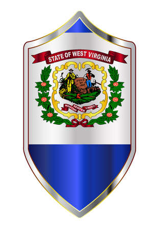 A typical crusader type shield with the state flag of West Virginia all isolated on a white background