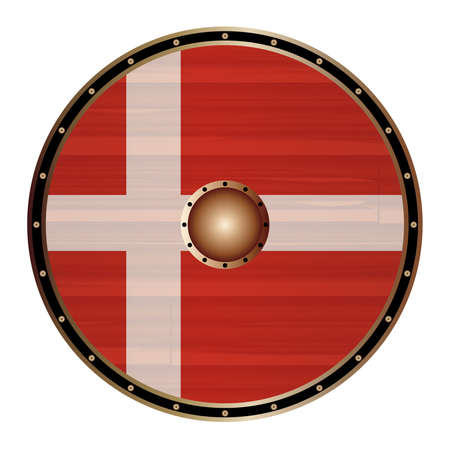 A Viking round shield with the Danish flag color design isolated on a white background