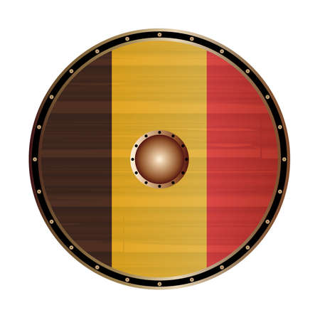 A Viking style round shield with the Belgium flag color design isolated on a white background