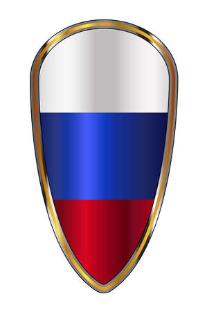 The traditional knights shield associated with a crusader with the Russian red white and blue flag Иллюстрация