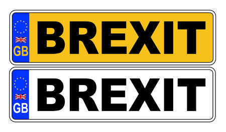 The UK Eu number plate front and rear over a white background with BREXIT text on both