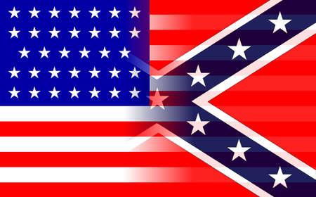 La bandiera dei Confederati e delle forze dell'Unione durante la guerra civile americana