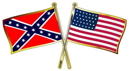 La bandiera di entrambe le parti durante la guerra civile americana incrociata con le aste della bandiera come spilla