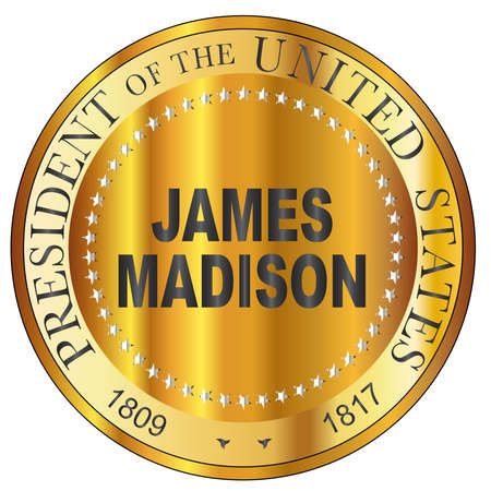 James Madison president of the United States of America round stamp