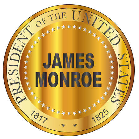 James Monroe president of the United States of America round stamp Ilustrace