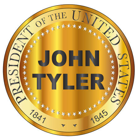 John Tyler 10th president of the United States of America round stamp