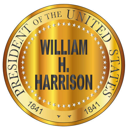 William H. Harrison 9th president of the United States of America round stamp Ilustrace