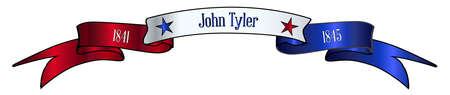 A red white and blue satin or silk ribbon banner with the text John Tyler and stars and date in office