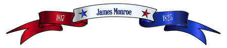 A red white and blue satin or silk ribbon banner with the text James Monroe and stars and date in office