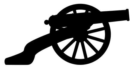 Typical American civil war cannon gun in silhouette isolated on a white background