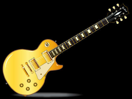 The definitive rock and roll guitar in gold isolated over a black background