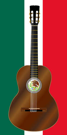 A typical Flamenco Spanish acoustic guitar set on the Mecican flag colors