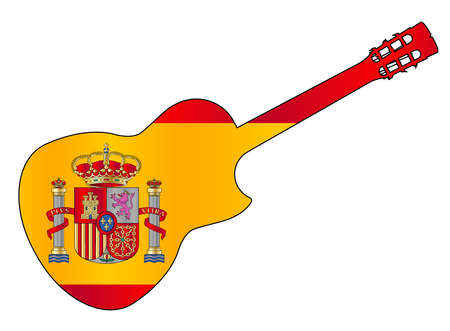 A typical Flamenco Spanish acoustic guitar isolated over a white background with flag of Spain inset Ilustração