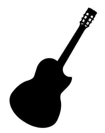 A typical Flamenco Spanish acoustic guitar isolated over a white background.